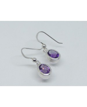 Silver & Amethyst Drop Earrings