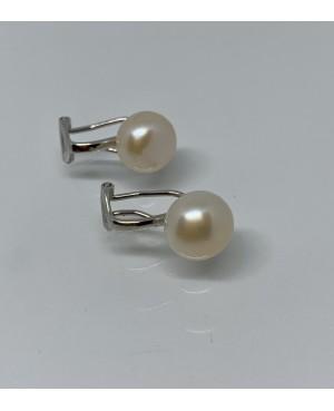 Silver & White Freshwater  Pearl Clip Earrings