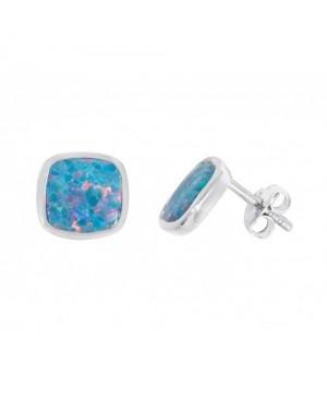 Silver & Synthetic Opal Stud Earrings