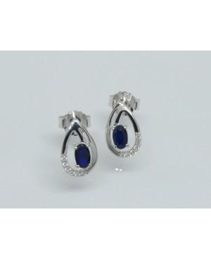Silver, Sapphire & CZ Stud Earrings