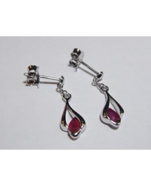 Silver & Ruby Drop Earrings