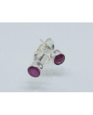 Silver & Ruby Rubover 5mm Stud Earrings