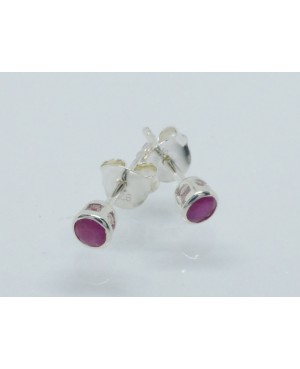 Silver & Ruby Rubover 4mm...