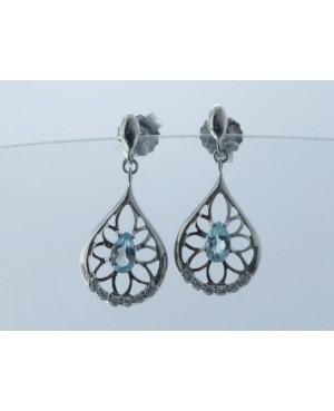 Silver & Topaz & Cubic Zirconia Drop Earrings